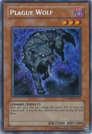 YuGiOh GX Trading Card Game Force of the Breaker Secret Rare Plague Wolf FOTB-EN065
