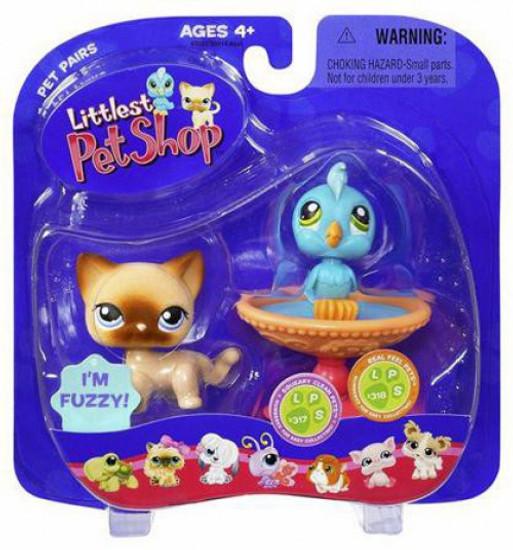 Littlest Pet Shop Pet Pairs Blue Bird & Cat Figure 2-Pack #317, 318 [Birdbath]
