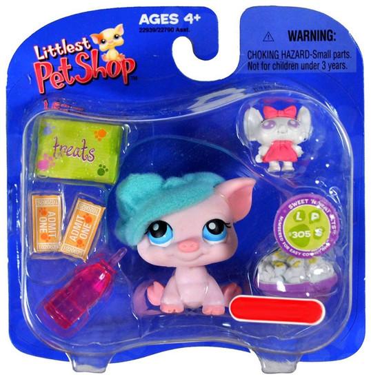 Littlest Pet Shop Piggy with Blue Hat & Treats Exclusive Single Pack