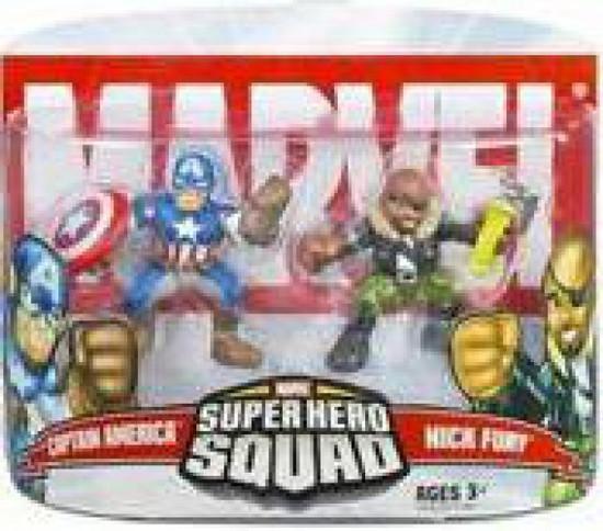 Marvel Super Hero Squad Series 5 Captain America & Nick Fury 3-Inch Mini Figure 2-Pack