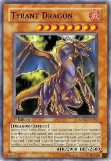 YuGiOh GX Trading Card Game Structure Deck: Rise of the Dragon Lords Common Tyrant Dragon SDRL-EN009