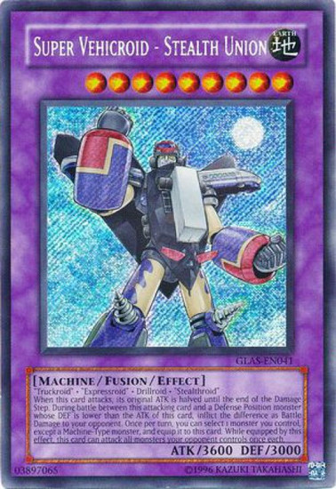 YuGiOh GX Trading Card Game Gladiator's Assault Secret Rare Super Vehicroid - Stealth Union GLAS-EN041