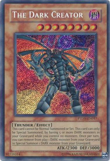 YuGiOh GX Trading Card Game Phantom Darkness Secret Rare The Dark Creator PTDN-EN017
