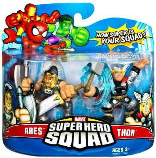 Marvel Super Hero Squad Series 8 Ares & Thor 3-Inch Mini Figure 2-Pack