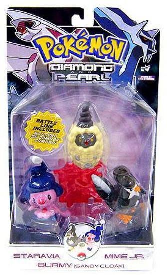 Pokemon Diamond & Pearl Series 7 Staravia, Mime Jr. & Burmy [Sandy Cloak] Figure 3-Pack