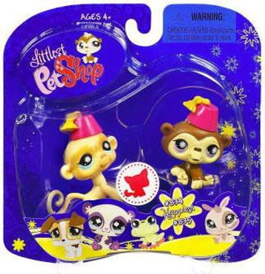 Littlest Pet Shop 2009 Assortment B Series 2 Chimp & Monkey Figure 2-Pack #834, 835