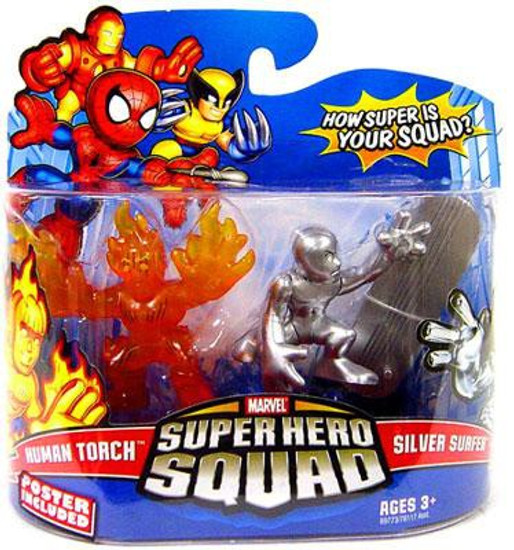 Marvel Super Hero Squad Series 13 Human Torch & Silver Surfer 3-Inch Mini Figure 2-Pack