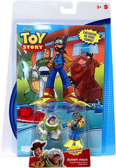 Toy Story Comic Buddy Pack Action Hero Buzz Lightyear & Scuba Woody Exclusive Mini Figure 2-Pack