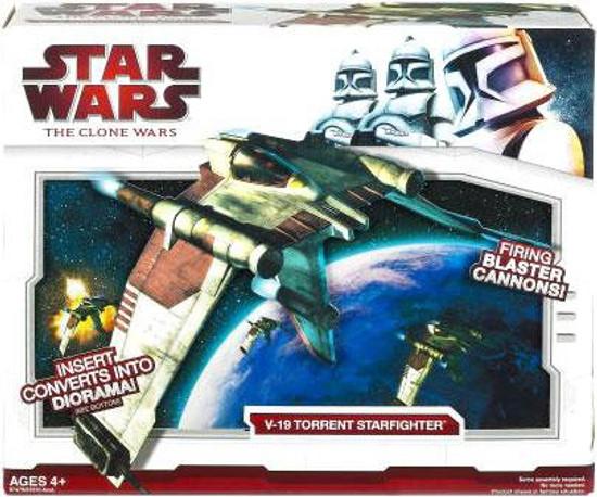 Star Wars The Clone Wars 2009 V-19 Torrent Starfighter Action Figure Vehicle