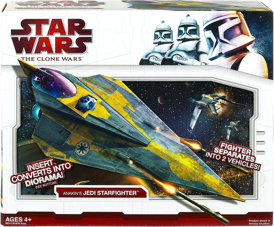 Star Wars The Clone Wars 2009 Anakin's Jedi Starfighter Action Figure Vehicle [Yellow Trim]