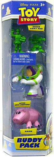 Toy Story Buddy Pack Green Army Men, Action Buzz Lightyear & Hamm Mini Figure 3-Pack