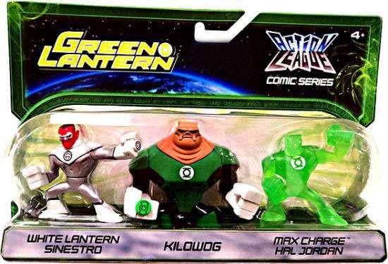 Green Lantern Action League Comic Series White Lantern Sinestro, Kilowog & Max Charge Hal Exclusive Mini Figure 3-Pack