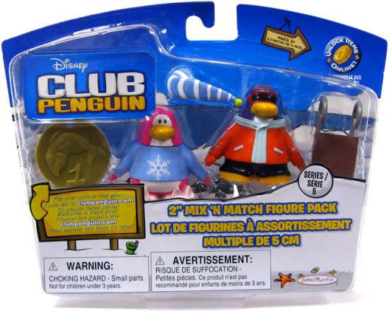 Club Penguin Mix 'N Match Series 5 Pajama Bunny Slippers & Snowboarder Mini Figure Set