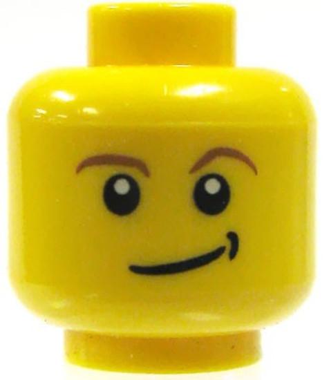 Smirk Minifigure Head [Yellow Male Loose]
