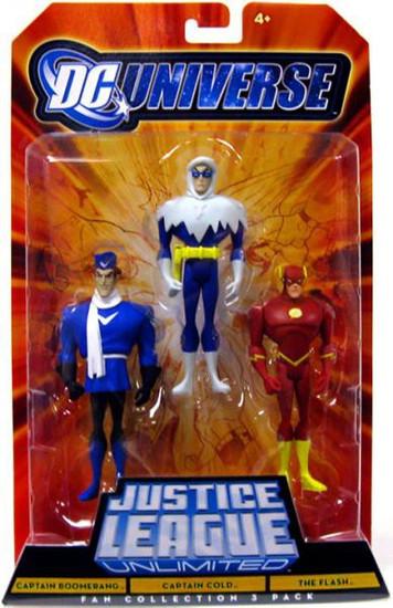 DC Universe Justice League Unlimited Fan Collection Captain Boomerang, Captain Cold & The Flash Action Figures