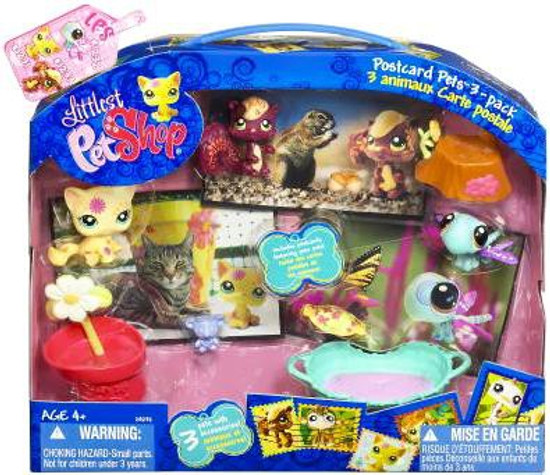 Littlest Pet Shop Postcard Pets Cat, Squirrel & Dragonfly Figure 3-Pack