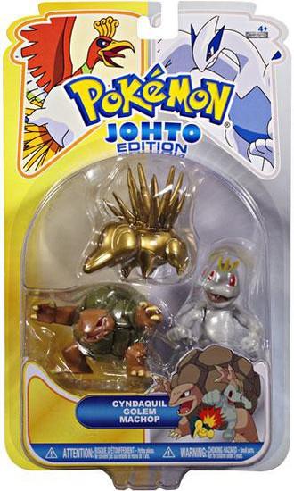 Pokemon Johto Edition Series 16 Gold Cyndaquil, Golem & Machop Figure 3-Pack
