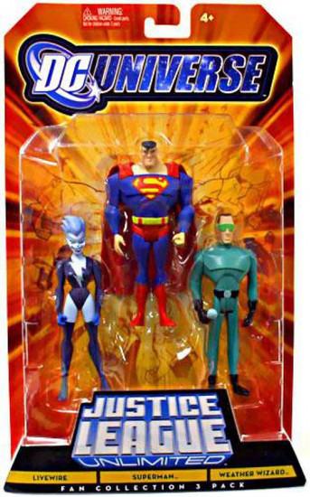 DC Universe Justice League Unlimited Fan Collection Livewire, Superman & Weather Wizard Action Figures