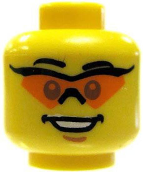 Double Sided Head - Orange Sunglasses / Horrified Minifigure Head [Yellow Loose]