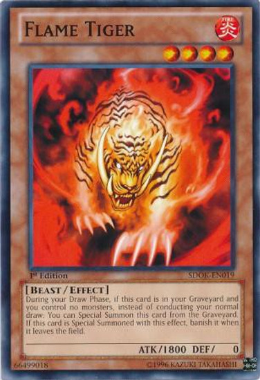YuGiOh Structure Deck: Onslaught of the Fire Kings Common Flame Tiger SDOK-EN019