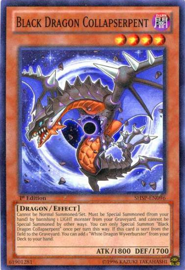 YuGiOh Trading Card Game Shadow Specters Common Black Dragon Collapserpent SHSP-EN096