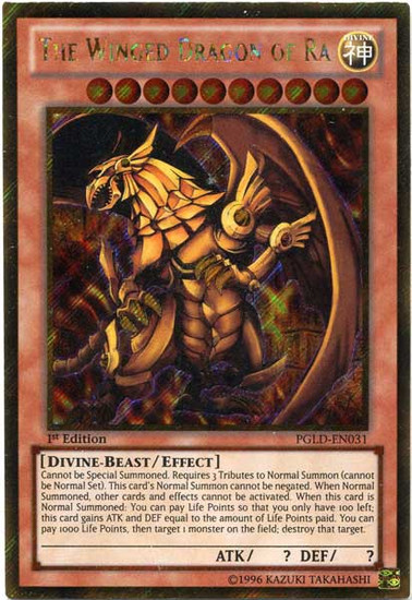 YuGiOh Premium Gold Gold Secret Rare The Winged Dragon of Ra PGLD-EN031