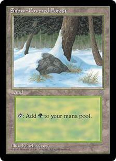 MtG Ice Age Basic Land Snow-Covered Forest [Slightly Played Condition]