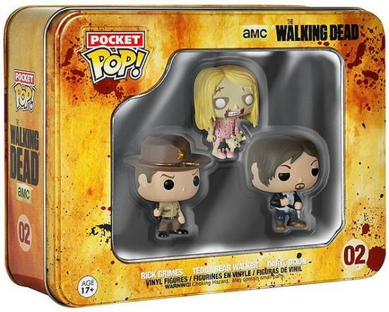 Funko The Walking Dead Pocket POP! TV Rick Grimes, Teddy Bear Walker & Daryl Dixon Vinyl Mini Figure Tin 3-Pack #02