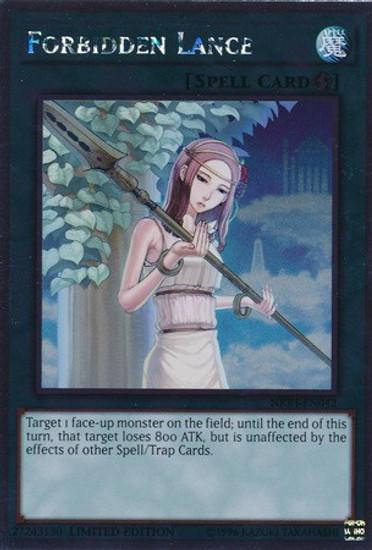 YuGiOh Noble Knights of the Round Table Platinum Rare Forbidden Lance NKRT-EN042