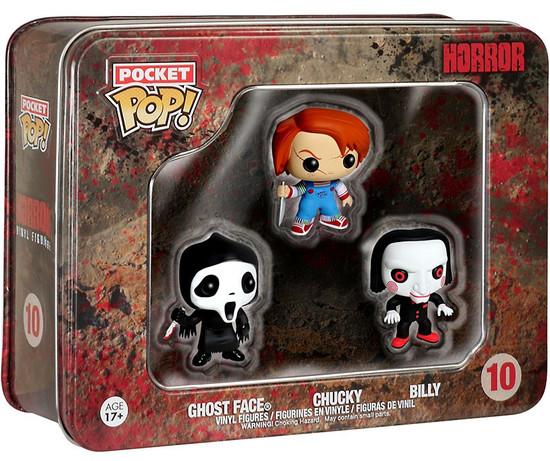 Funko Pocket POP! Horror Chucky, Ghost Face, Billy Vinyl Mini Figure Tin 3-Pack #10