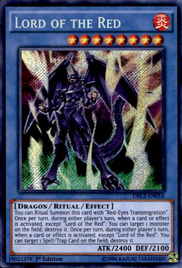 YuGiOh Dragons of Legend 2 Secret Rare Lord of the Red DRL2-EN016