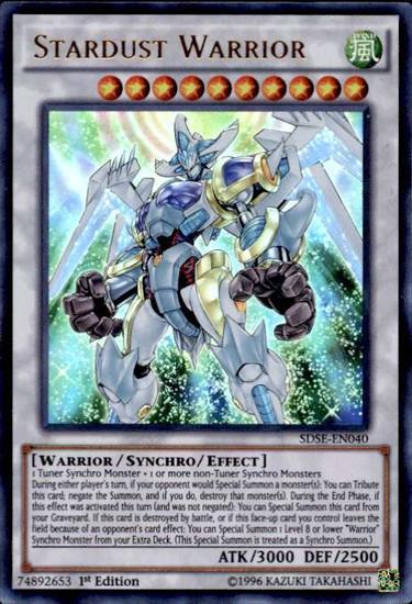 YuGiOh Synchron Extreme Structure Deck Ultra Rare Stardust Warrior SDSE-EN040