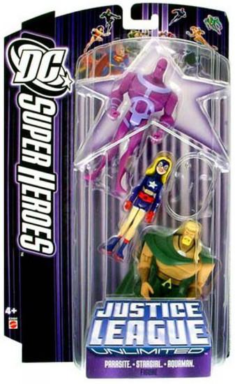 DC Justice League Unlimited Super Heroes Parasite, Stargirl & Aquaman Action Figure 3-Pack [Purple Card]