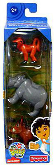 Fisher Price Go Diego Go! Baboon, Warthog & Hippo Mini Figure 3-Pack