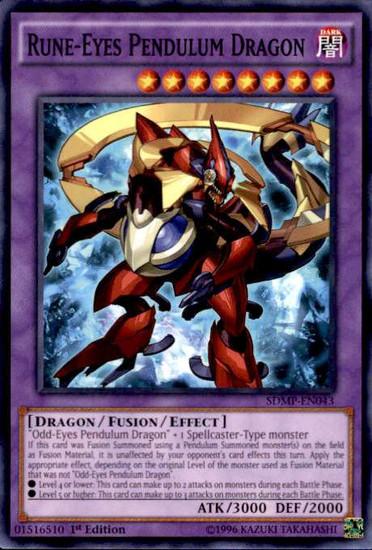 YuGiOh Master of Pendulum Structure Deck Common Rune-Eyes Pendulum Dragon SDMP-EN043