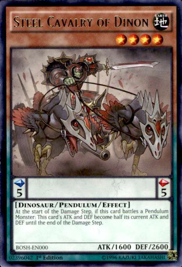 YuGiOh Breakers of Shadow Rare Steel Cavalry of Dinon BOSH-EN000