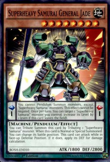 YuGiOh Breakers of Shadow Common Superheavy Samurai General Jade BOSH-EN010