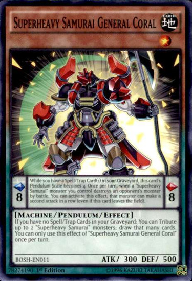 YuGiOh Breakers of Shadow Common Superheavy Samurai General Coral BOSH-EN011