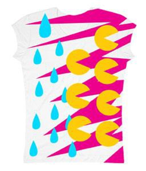 Pac Man Rain Drops T-Shirt [Juniors Small]