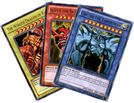 YuGiOh Legendary Collection 1 Slifer, Obelisk & Ra Ultra Rare Set of All 3 Egyptian God Cards LC01-EN001, EN002 & EN003