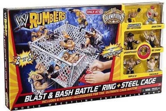 WWE Wrestling Rumblers Series 1 Blast & Bash Battle Ring & Steel Cage Exclusive Mini Figure Playset
