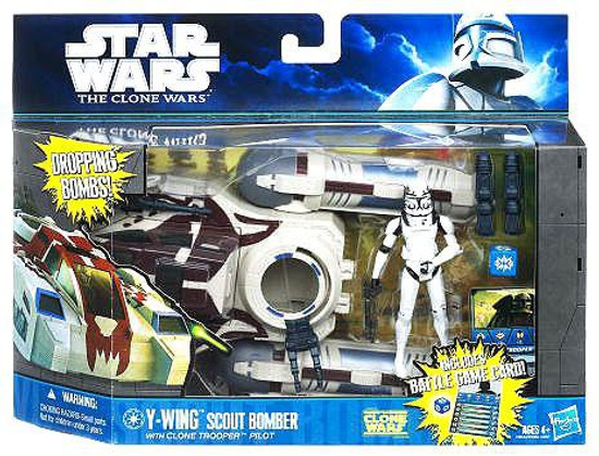 Star Wars The Clone Wars Y-Wing Scout Bomber with Clone Trooper Pilot Vehicle & Action Figure
