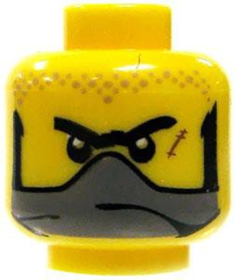 Black Sideburns, Unibrow, Scar On Cheek & Baring Teeth / Gray Bandana over Face Minifigure Head [Dual-Sided Yellow Loose]