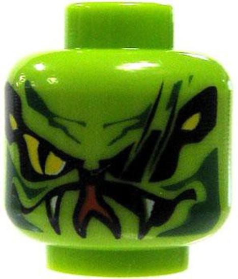 Bright Green Serpentine Scars & Yellow Eyes Minifigure Head [Loose]