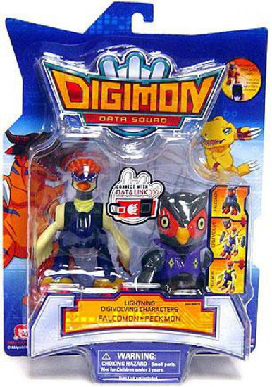 Digimon Data Squad Lightning Digivolving Characters Falcomon to Peckmon Action Figure