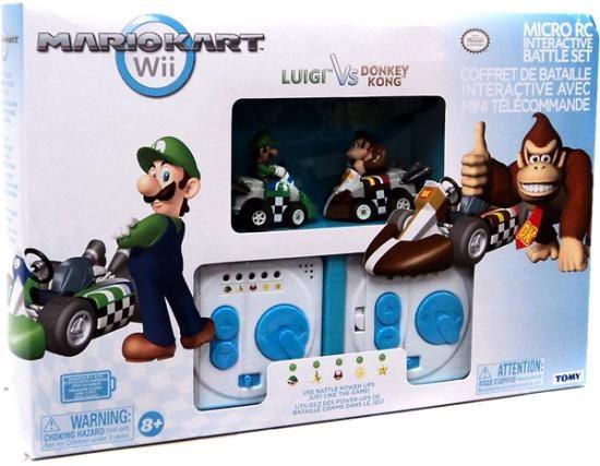Super Mario Mario Kart Wii Micro PC Interactive Battle Set Luigi vs Donkey Kong Exclusive 2-Inch R/C Vehicles