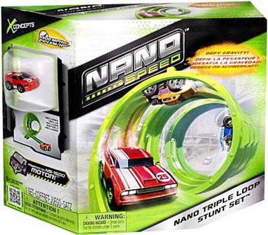 Nano Speed Nano Triple Loop Stunt Set Micro Car Playset