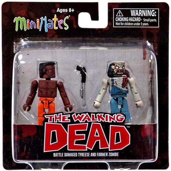 The Walking Dead Minimates Series 3 Battle-Damaged Tyreese & Farmer Zombie Minifigure 2-Pack