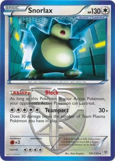 Pokemon Black & White Plasma Storm Rare Snorlax #101