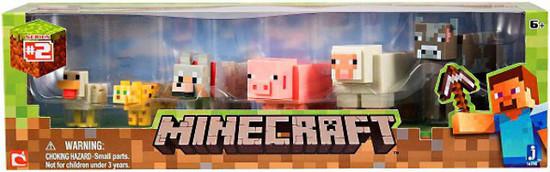 Minecraft Series 2 Core Animal Mini Figure 6-Pack [Chicken, Ocelot, Wolf, Pig, Sheep & Cow]